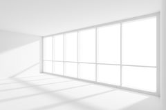 Empty white room with sun light from large window. Business architecture white colorless office room interior - empty white business office room with white floor Royalty Free Stock Images