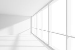 Empty white room with sunlight from large window. Business architecture white colorless office room interior - empty white business office room with white floor Stock Illustration