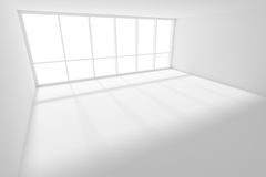 Empty white room with sunlight from large window. Business architecture white colorless office room interior - empty white business office room with white floor Stock Image