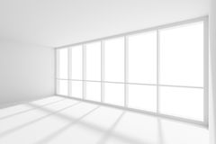 Empty white room with sunlight from large window Royalty Free Stock Photo