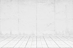 Empty white room with tiled floor Stock Photo