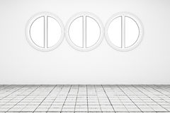Empty white room with tiled floor Royalty Free Stock Images