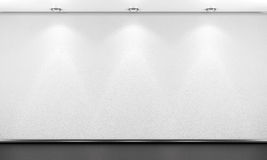 Empty white room wall with lighting. 3d render image. Royalty Free Stock Photography
