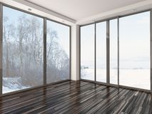 Empty white room with winter view Royalty Free Stock Photos