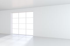 Empty White Room With Large Stained-glass Windows. 3D Rendering Stock Photography