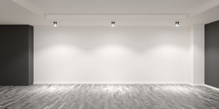 Free Empty White Room With Wooden Floor And Gray Colored Accent Walls With Spotlights On The Back Wall - Gallery, Product Or Modern Stock Photos - 161640613