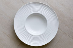 Empty White Round Ceramic Dish Stock Image