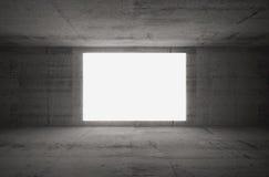 Empty white screen glows in dark concrete room Stock Photos