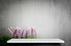 Empty shelf on flower garden for product display royalty free stock image