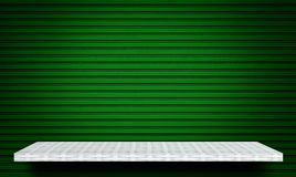 Shelf on green metal background for product display stock photo