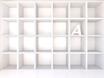 Empty white shelves with A Stock Images