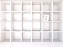 Empty white shelves with B Stock Photography