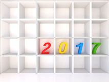 Empty white shelves with 2017. On white background, 3D Illustrator Stock Photography