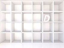 Empty white shelves with D Stock Photo