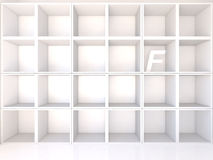 Empty white shelves with F Stock Image