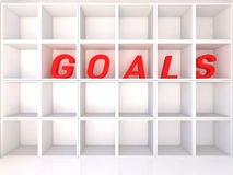 Empty white shelves with goals Royalty Free Stock Photos