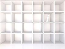 Empty white shelves with I Stock Images