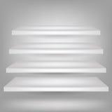 Empty white shelves Stock Photo