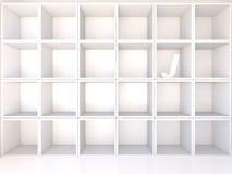 Empty white shelves with J Stock Photos
