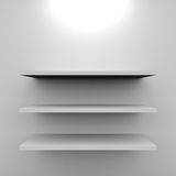 Empty white shelves with lamp. Stock Images