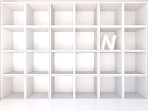 Empty white shelves with N Royalty Free Stock Photography