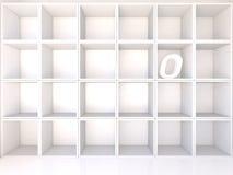Empty white shelves with O Stock Photos