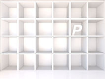 Empty white shelves with P Stock Images