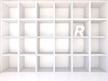 Empty white shelves with R Stock Images