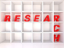 Empty white shelves with research Royalty Free Stock Images
