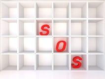 Empty white shelves with SOS Royalty Free Stock Photos