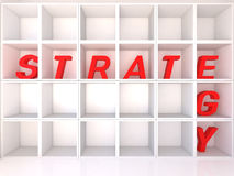 Empty white shelves with strategy Stock Images