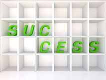 Empty white shelves with success Royalty Free Stock Image