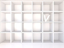 Empty white shelves with V Royalty Free Stock Photography