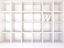 Empty white shelves with W Royalty Free Stock Photography
