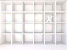 Empty white shelves with X Stock Images
