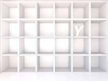 Empty white shelves with Y Stock Images