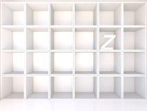 Empty white shelves with Z Stock Photos