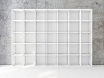 Free Empty White Shelving Unit In Interior, Bookshelf Mockup Royalty Free Stock Photos - 140196178