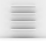 Empty white shop shelf, retail shelves Royalty Free Stock Image