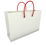 Empty white shopping bag with red handles Royalty Free Stock Image