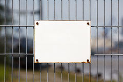Empty White Sign on Fence Royalty Free Stock Photos