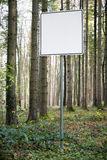 Empty white sign in forest Royalty Free Stock Photos