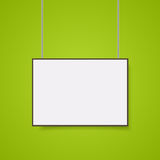 Empty white A4 sized. Vector paper mockup hanging with paper clips. Show your flyers, brochures, headlines etc with this highly detailed realistic design Royalty Free Stock Photos