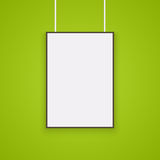 Empty white A4 sized. Vector paper mockup hanging with paper clips. Show your flyers, brochures, headlines etc with this highly detailed realistic design royalty free illustration