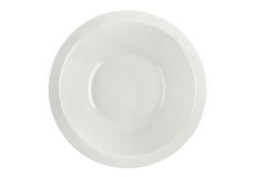 Empty white soup plate isolated top view. Royalty Free Stock Images