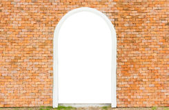 Empty white space of door on wall brick in horizontal Stock Photography