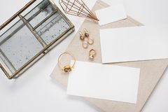 Empty white space for text or a gift certificate with jewelry, a box and a natural cloth. Horizontal 2:3 royalty free stock photo