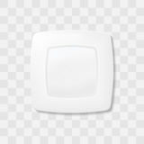 Empty white square plate. Top view dish Realistic vector. Stock Photos