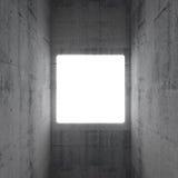 Empty white square screen in concrete interior. Empty white square screen glows in abstract concrete interior Royalty Free Stock Photo
