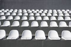 Empty stadium seats. Empty white stadium seats for match Royalty Free Stock Images